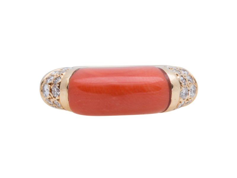 Cartier 18K Yellow Gold Diamond & Coral Ring Size 6