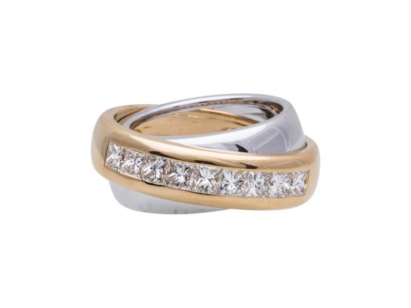 Cartier 18K Yellow & White Gold Diamond Ring Size 5