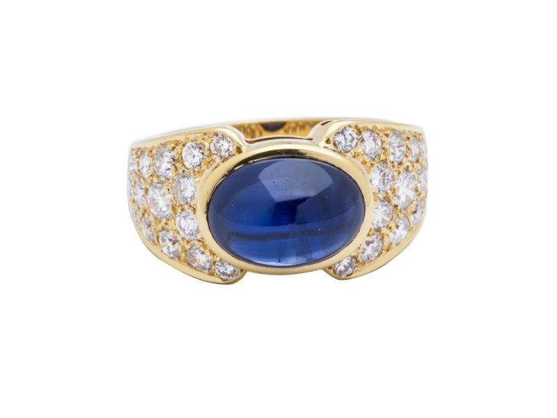 Van Cleef & Arpels 18K Yellow Gold Diamond & Sapphire Ring Size 6