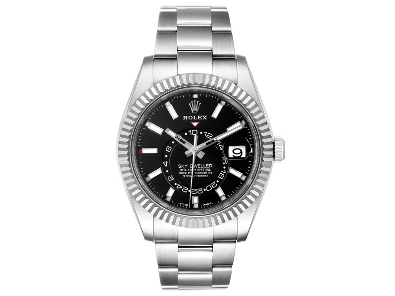 Rolex Sky-Dweller Black Dial Steel White Gold Mens Watch 326934 Unworn