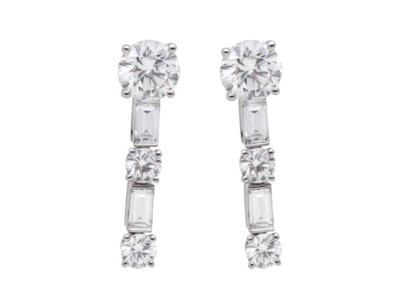 Cartier 18K White Gold and Diamond Earrings