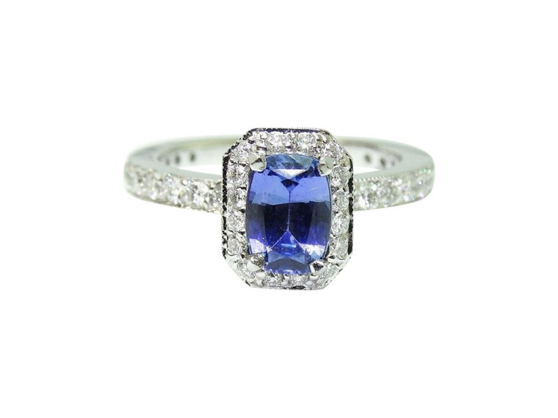 14K White Gold Radiant Cut Blue Ceylon Sapphire Diamond Engagement Ring