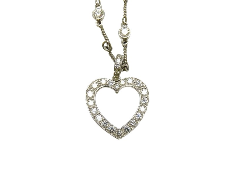 Tiffany & Co. Platinum Diamond Heart Twist Chain Pendant Necklace