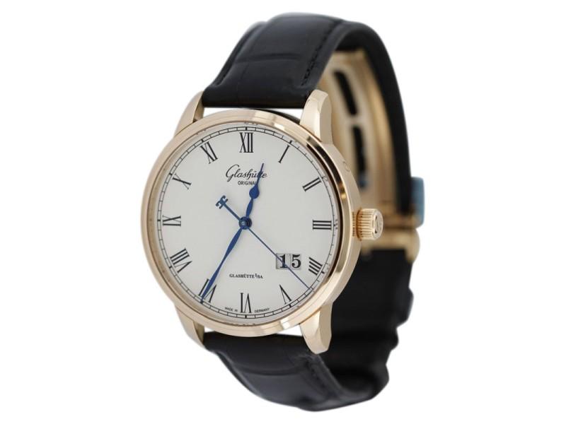Glashutte Original W10003324504 18K Rose Senator Pano Date Mens Watch