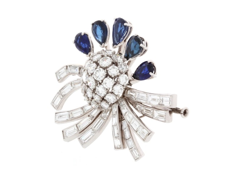 brooch deco sapphire an synthetic baguette pin art with platinum diamond set and