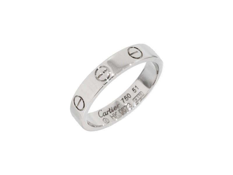 Cartier Mini Love 18K White Gold Size 5.75 Ring