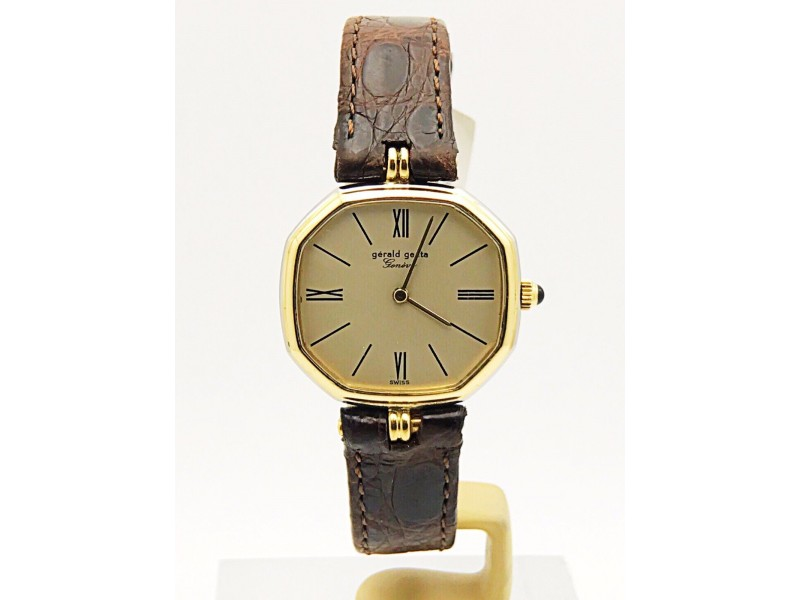 Gerald Genta 18K Yellow & White Gold Manual Winding Watch with Extra Strap