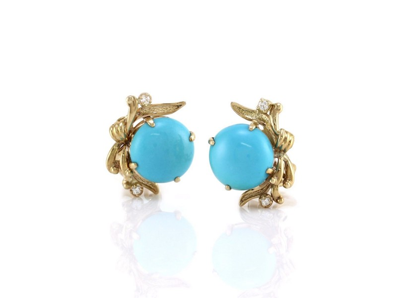 14K Yellow Gold Turquoise and Diamond Clip-on Earrings