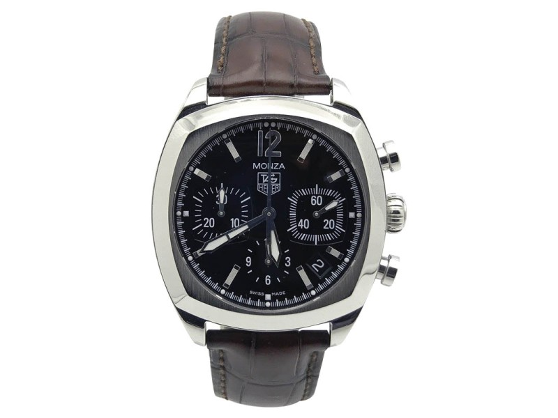 Tag Heuer Monza GTS Stainless Steel / Leather with Black Dial 38mm Mens Watch