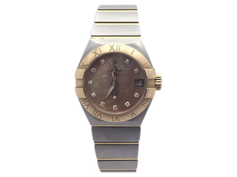 Omega Constellation Stainless Steel and 18K Rose Gold Mother of Pearl Diamonds 27.5mm Womens Watch