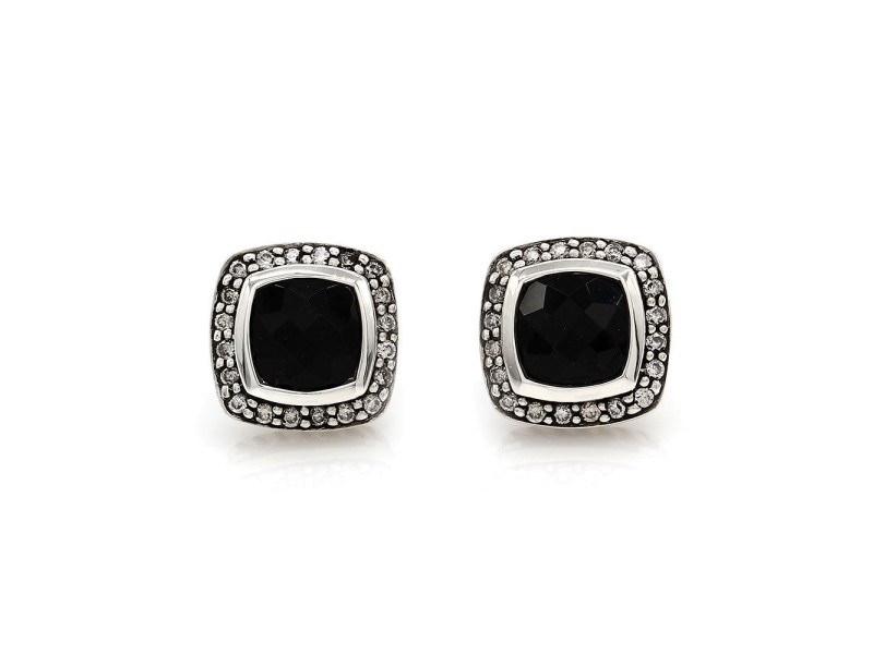 David Yurman Albion 925 Sterling Silver and 18K Gold Onyx and 0.25ctw Diamond Earrings