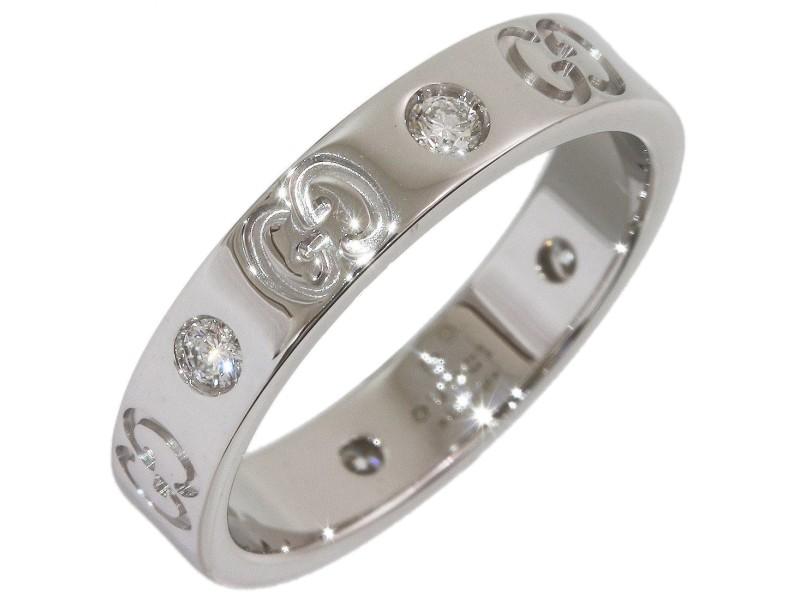 Gucci Icon 18K White Gold Diamond Ring Size 5.75
