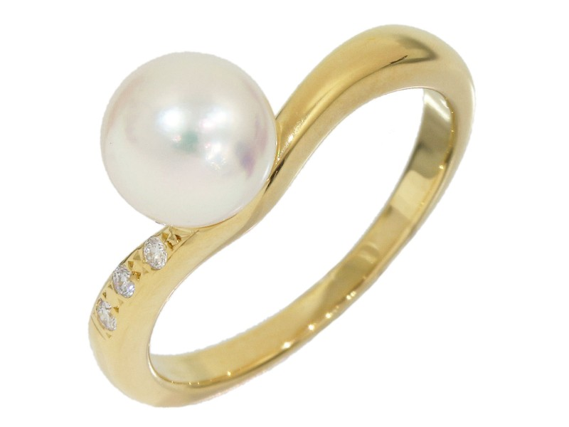 Mikimoto Pearl 18K Yellow Gold Cultured Pearl, Diamond Ring Size 5.25