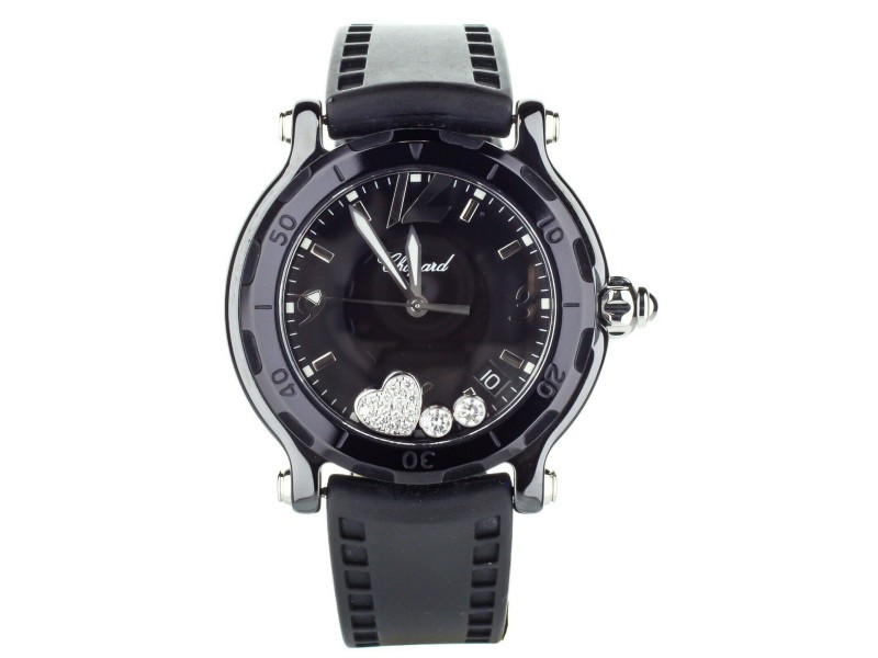 Chopard Happy Sport Ceramic Limited Edition Valentines Heart 38mm 288507-9009
