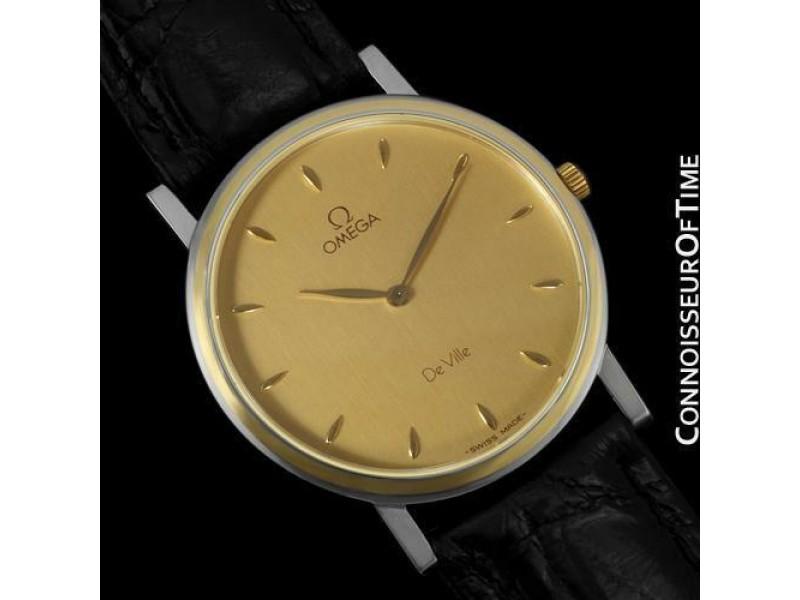 OMEGA De Ville Mens Midsize 18K Gold & Stainless Steel Watch - Mint w/ Warranty