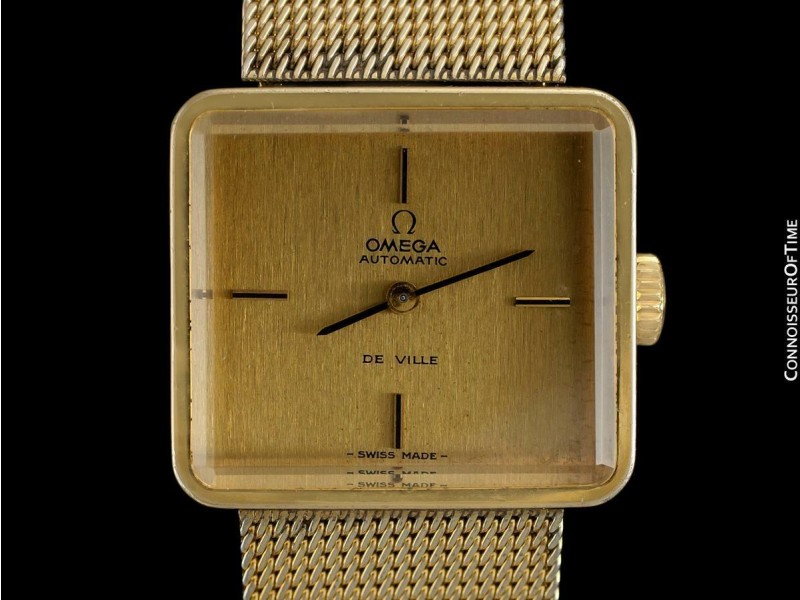 """1973 OMEGA De Ville """"Emerald"""" Modern 14K Gold Plated & SS Watch By Andrew Grima"""