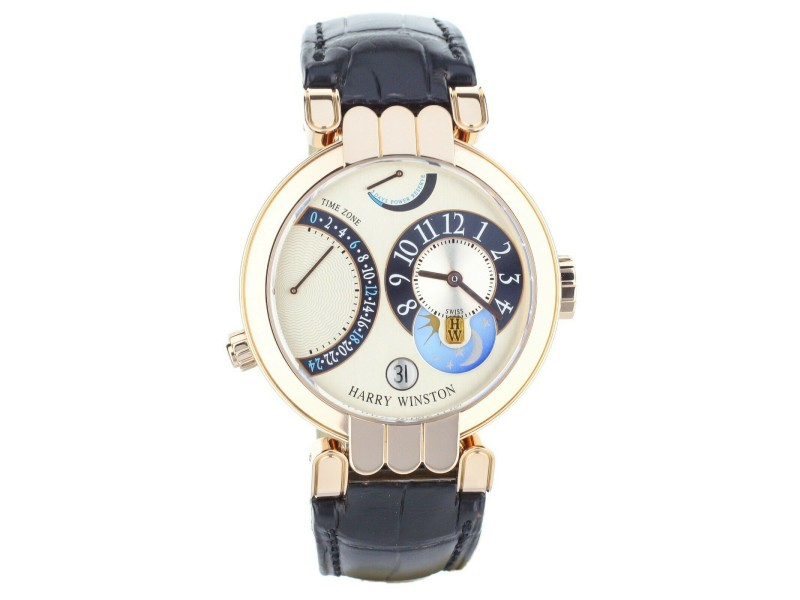 Harry Winston Premier Excenter Timezone ref:200-MMTZ39R Rose Gold 39mm Full Set