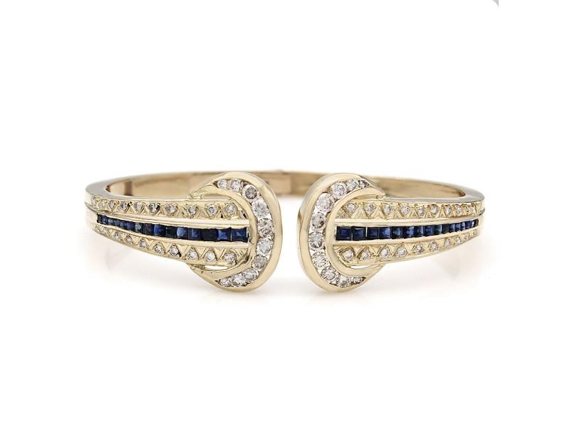 18KY Sapphire and Diamond Bangle Bracelet