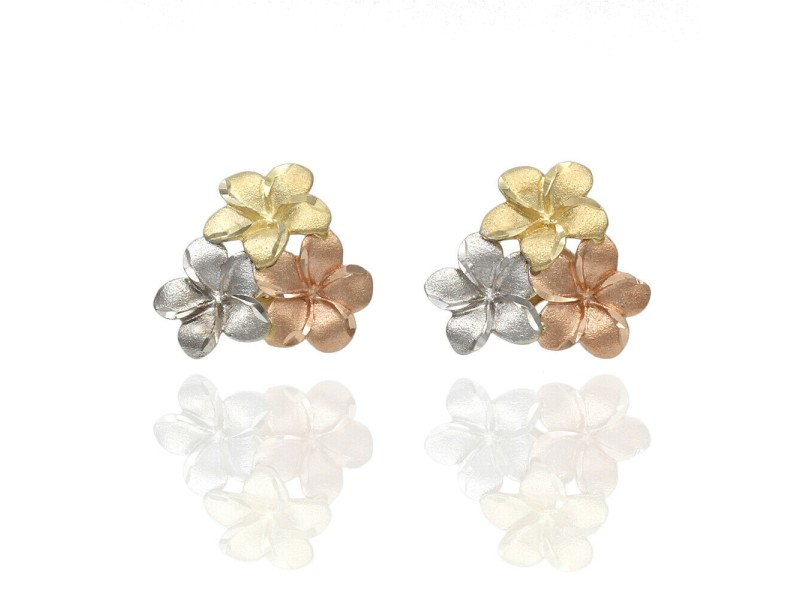 14K Satin Flower Earrings