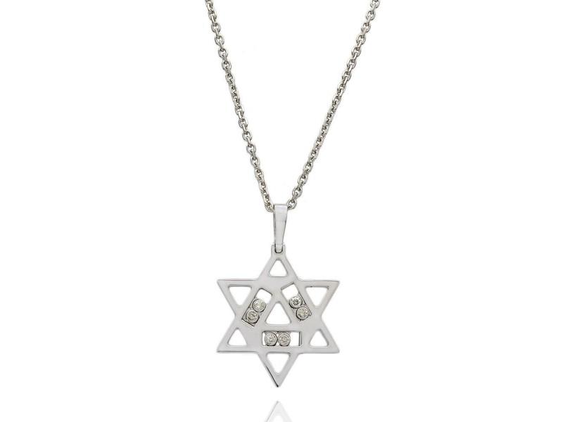 14KW Happy Diamond Star of David Necklace