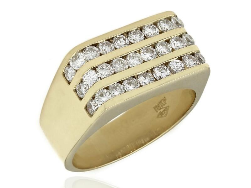 GentlemansThree Row Diamond Ring 18KY