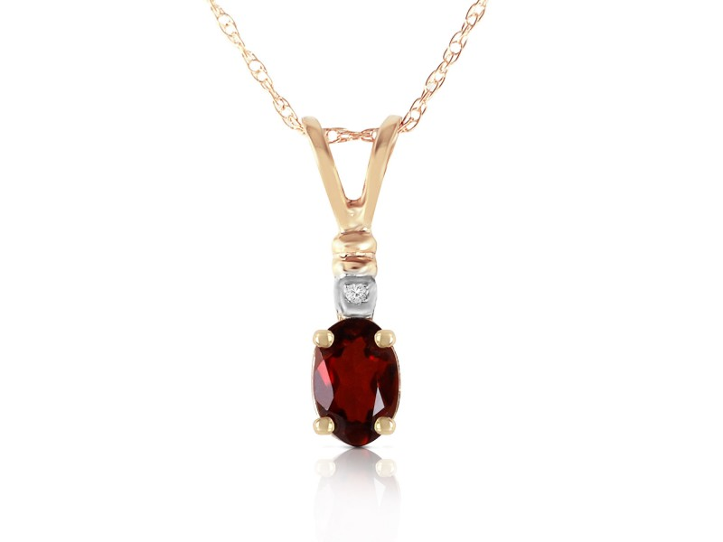 0.46 CTW 14K Solid Gold Simply Dramatic Garnet Diamond Necklace
