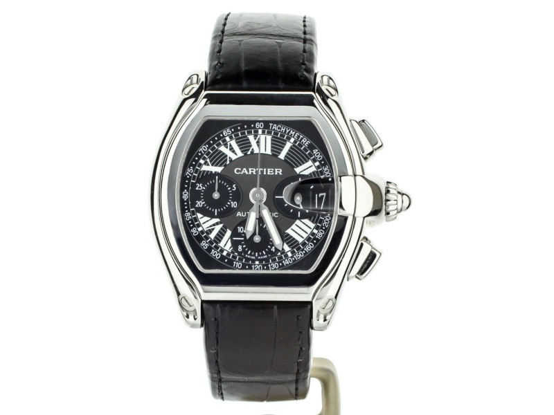 Cartier Roadster Chronograph Tachymeter Black Dial on Alligator Strap W62019X6