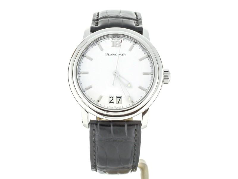 BLANCPAIN LEMAN GRANDE DATE WHITE DIAL Black Strap 40MM REF: 2850-1127-53b