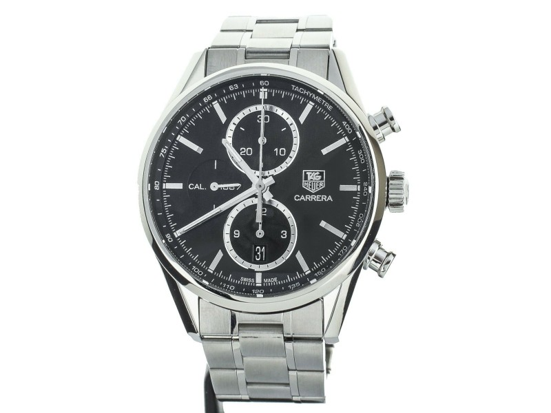 TAG HEUER CARRERA 1887 ON BRACELET BLACK DIAL 42MM REF CAR2110