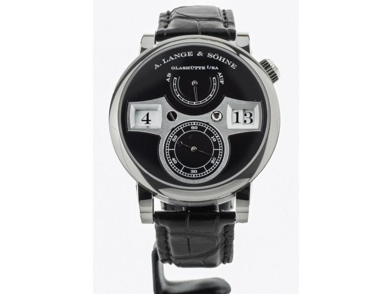 A. Lange & Sohne Zeitwerk Black Dial White Gold 42mm 140.029 Full Set