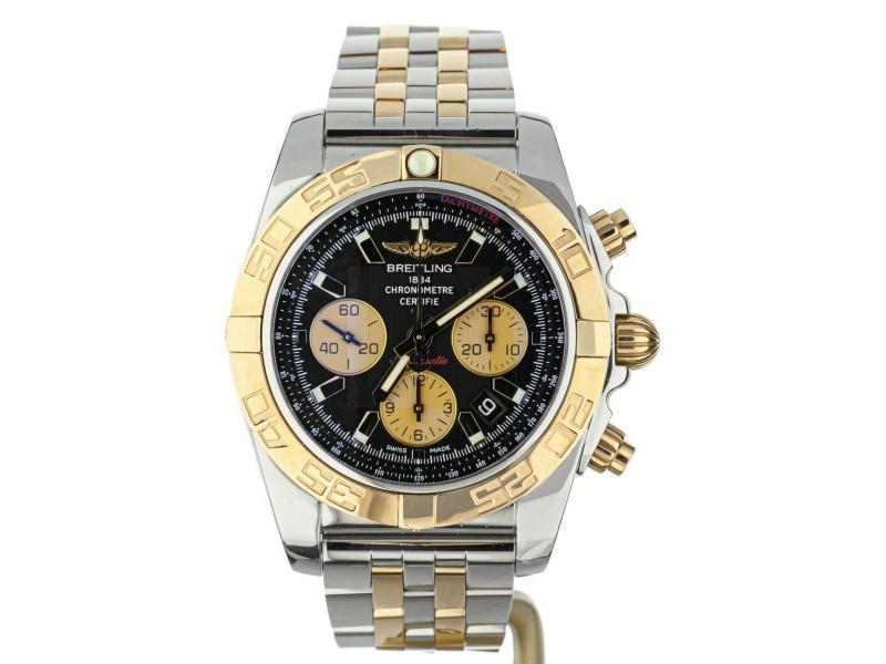 Breitling Chronomat Two Tone Rose Gold Black Dial CB0110 on Bracelet 44mm