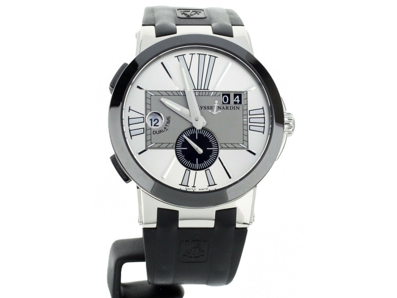 Ulysse Nardin executive dual time 43mm on rubber strap 243-00-3/421 Full Set