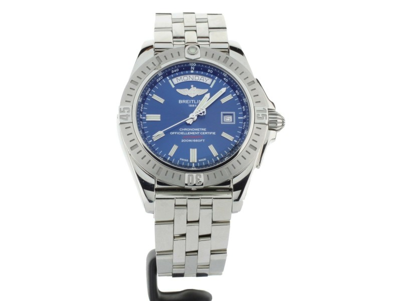 Breitling Galactic 44 Day Date Blue Dial US LE Stainless Steel A453201A/C976