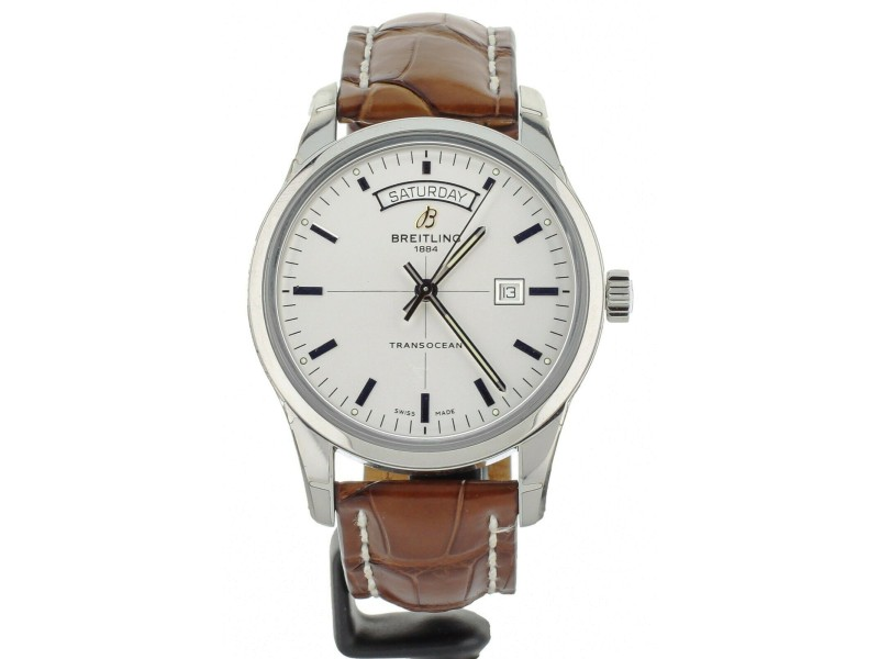 Breitling Transocean Day Date 42mm Stainless Steel Alligator strap A45310