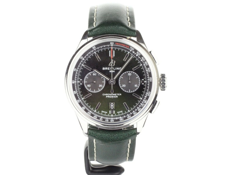 BREITLING PREMIER BENTLEY EDITION GREEN DIAL LEATHER STRAP 42MM AB0118 FULL SET