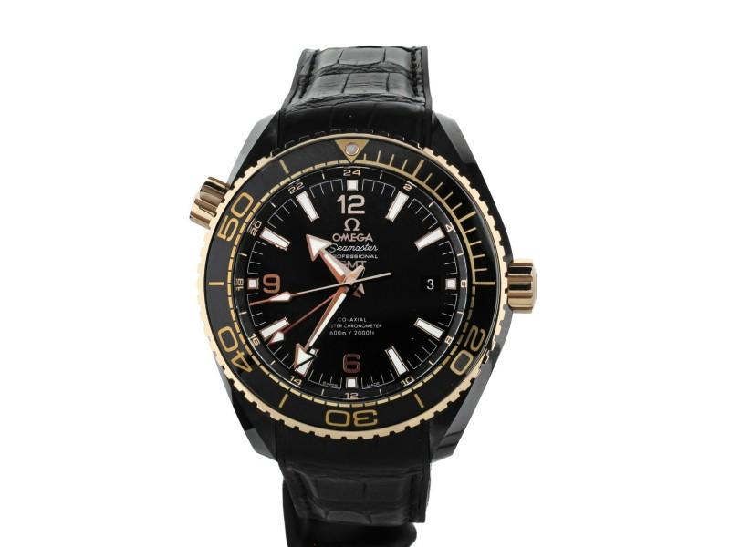 OMEGA PLANET OCEAN DEEP BLACK GMT CERAMIC ROSE GOLD 45mm 21563462201001 FULL SET