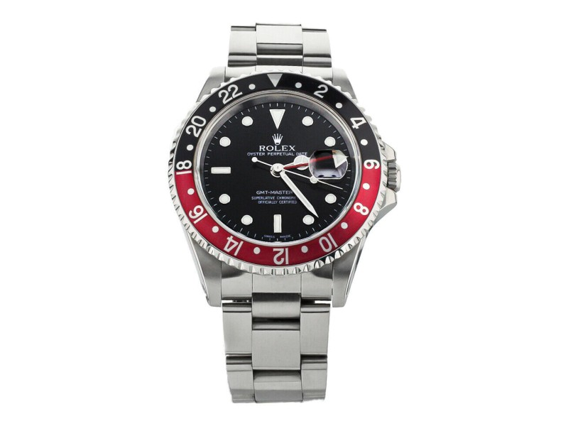 ROLEX GMT MASTER II COKE RED AND BLACK BEZEL STAINLESS STEEL 40MM 16710