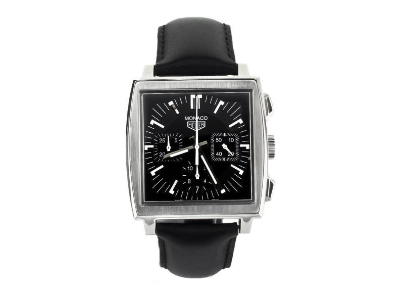 Tag Heuer Monaco Chronograph Black Dial Leather Strap 38mm CS2111