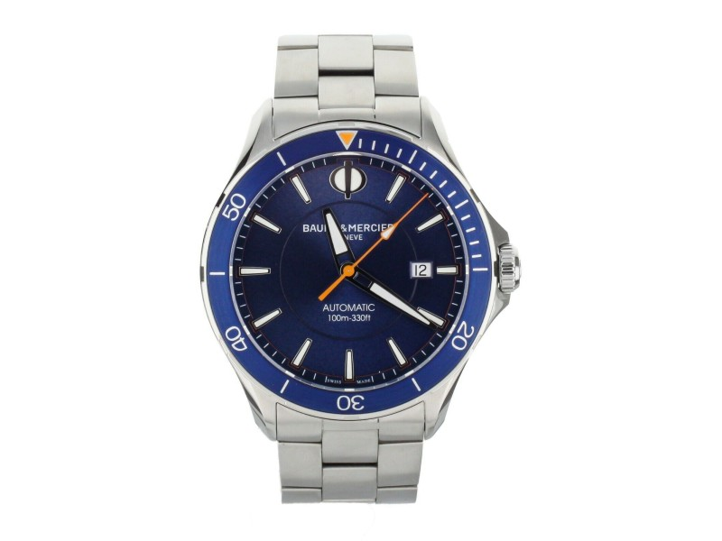 BAUME AND MERCIER CLIFTON CLUB STAINLESS STEEL BLUE DIAL 42MM 10378