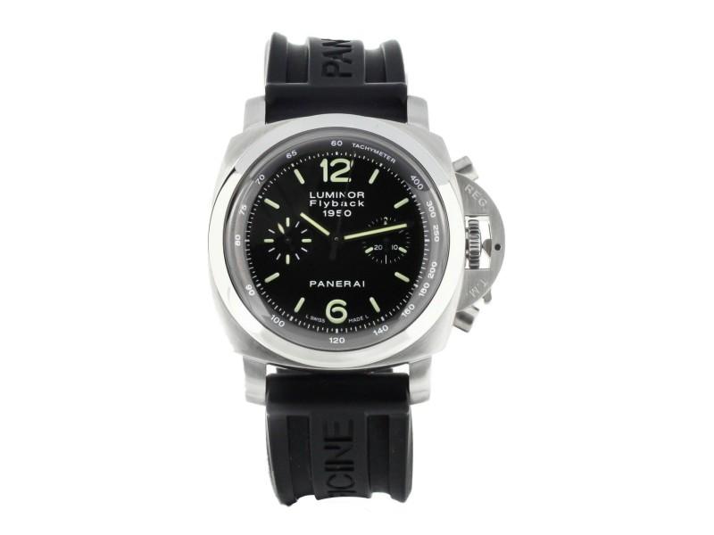 Panerai Luminor 1950 Flyback Chronograph Black Dial PAM212 Full Set service 2021