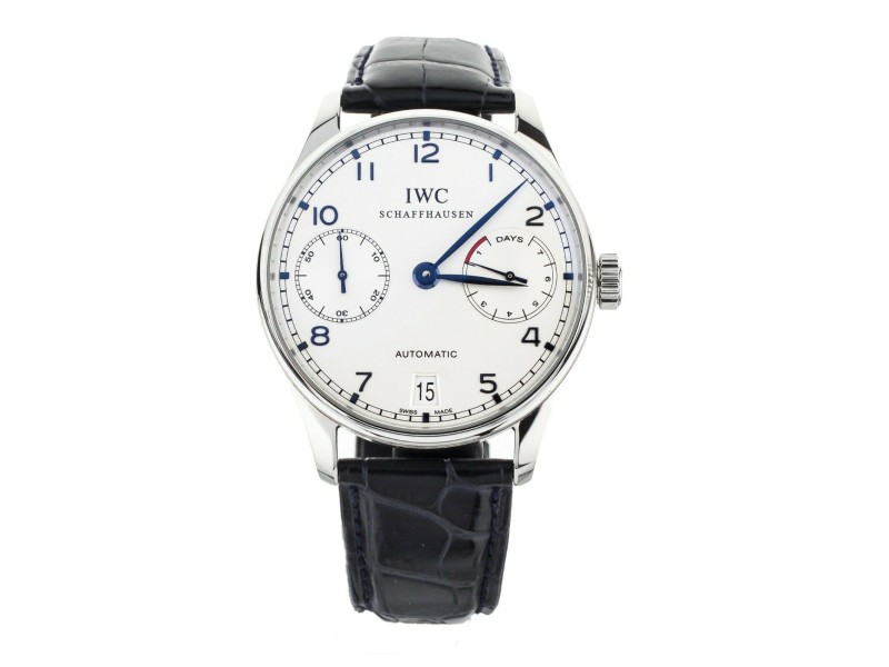 IWC Portugieser 7 Day Automatic Silver Dial Blue Accents 42mm IW500107 Full Set