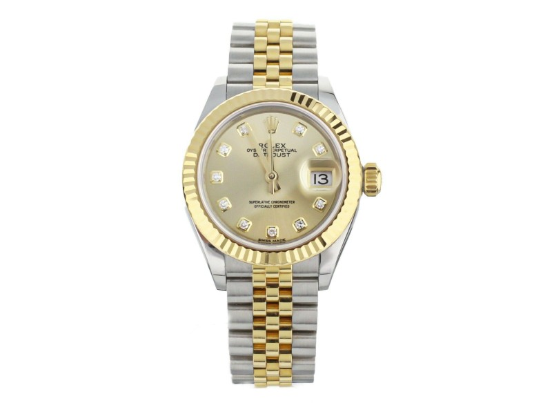 Rolex Datejust Stainless Steel Yellow Gold Champagne Dial 28mm 279173 Full Set