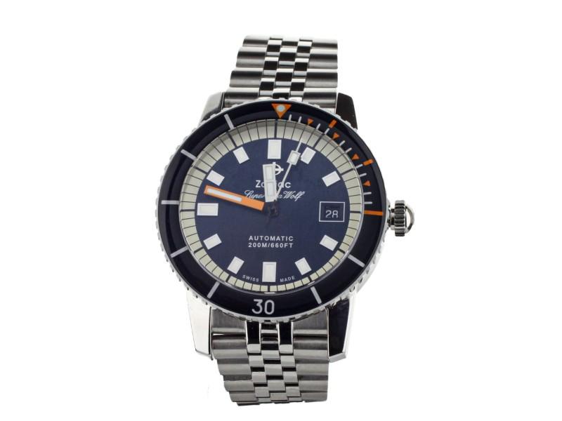 ZODIAC SUPER SEA WOLF STAINLESS STEEL BLUE DIAL ON BRACELET 40MM Z09266