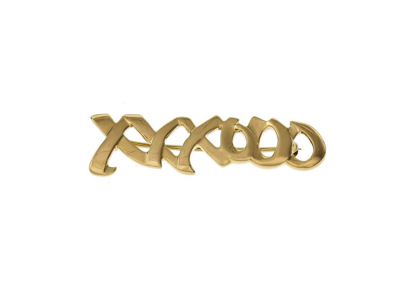 "Tiffany & Co Paloma Picasso ""XO"" Signature Yellow Gold Brooch"