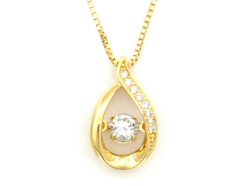 18k Gold Diamond Dancing Tear Drop Venetian Necklace