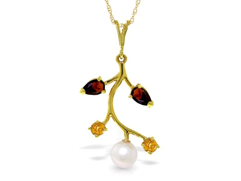 2.7 CTW 14K Solid Gold Necklace Garnet, Citrine Cultured Pearl