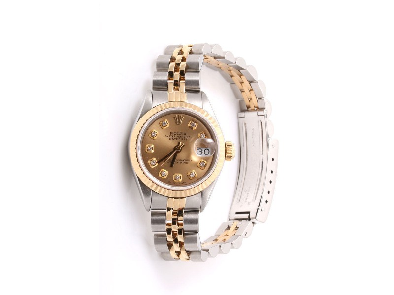 Rolex Datejust 14K Yellow Gold And Stainless Steel Champagne Diamond Dial 26mm Womens Watch