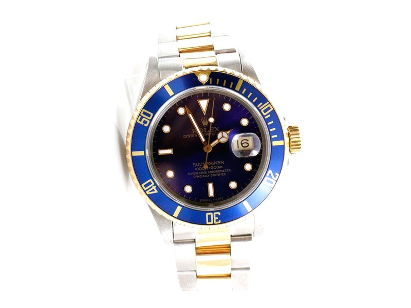 Rolex Submariner 16613 18K Yellow Gold And Stainless Steel Blue Dial 40mm Mens Watch 1990s