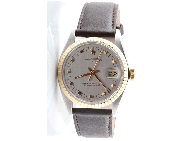 Rolex Quickset Date 18K Yellow Gold / Stainless Steel Silver Dial Brown Strap 34mm Mens Watch