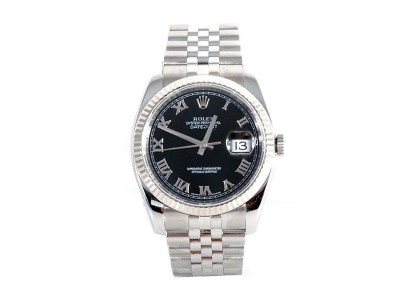 Rolex Datejust 116234 18K White Gold/ Stainless Steel Black Roman Dial Jubilee Band 36mm Mens Watch